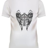 Unisex Angel Wing Cross Tattoo Graphic White T Shirt Size S M L XL