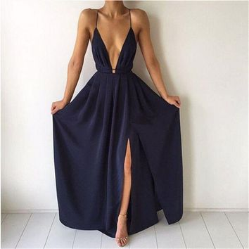 Split Maxi Dress Navy Blue Deep V Neck Evening Prom Dress