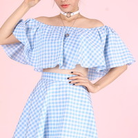 Glitters For Dinner — Made To Order - Lolita Blue Gingham Set