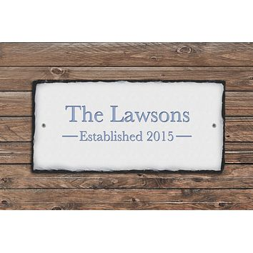 Customizable Slate Home Address Sign - Name/Address and Established Date Handmade and Personalized
