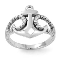 925 Sterling Silver Anchor Ring for Women (7)