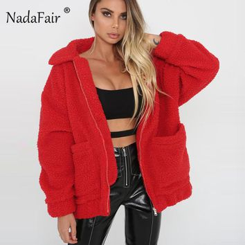 Nadafair fleece faux shearling jacket coat women autumn winter warm thick teddy coat female casual overcoat oversize outerwear