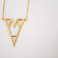 FREE SHIPPING - Matte 16K Gold Plated Triangle Geometric Pendant