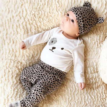 Fashion 2017 baby girl clothes leopard t-shirt + pants + cap newborn infant 3pcs suit baby girls clothing sets kids suit