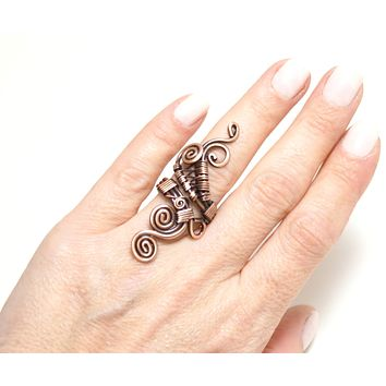 Handmade Copper Ring, Wire Wrapped