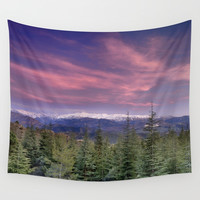 Pink sunset. Into the woods. Wall Tapestry by Guido Montañés