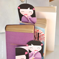 Kokeshi bookmark set - instant download - Japanese girl bookmark - lavender colored - printable bookmark - purple - kawaii bookmark - girl
