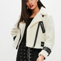Missguided - Cream Borg Aviator Biker Jacket