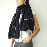 NO.1 Unisex Dark Blue/Grey Cotton Geometric Corded Striped Appliqué Over-Sized Scarf-Hand Dyed