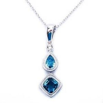 14kt White Gold Pave Set Genuine Blue Topaz And Diamond Drop Fine Gemstone Pendant Necklace