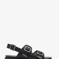 Faux Leather Two-Buckle Slingback Sandals