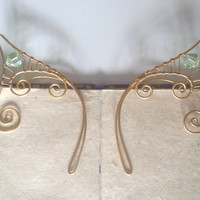Gold Plated Handmade Wire Wrapped Elf Ear Cuffs With Mint Green Swarovski Elements. Wire Weave, Spiral, Elven Ears, LARP