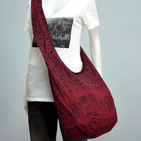 Carmine Cotton Printed Standing Elephants Crossbody Shoulder Hippie Boho Hobo Messenger Bag E137