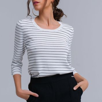 White Navy Striped Summer Sweater
