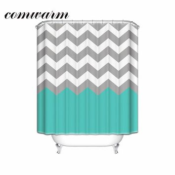 Comwarm Brief Ocean Colored Wave Striped Pattern Shower Curtain Polyester for Children Shower Room Bathroom with 12 Hooks C002