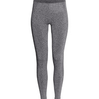 H&M - Seamless Base-layer Tights - Black melange - Ladies