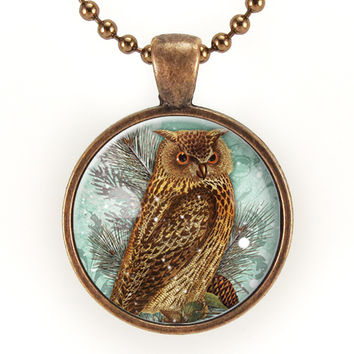Great Horned Owl Necklace, Bird Pendant, Copper Owl Jewelry