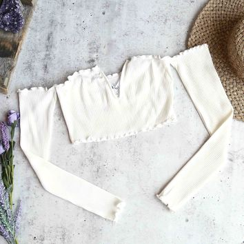 reverse - pretty lady ribbed crop top with long sleeves - white