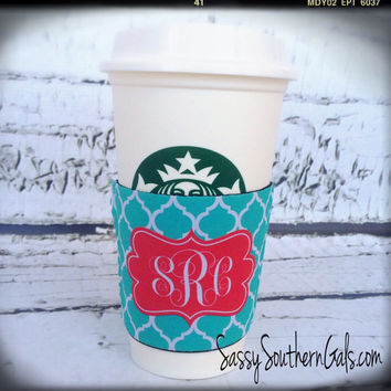 Coffee Cup Koozie, Coffee Cup Sleeve, Solo Cup Koozie, Wine Glass Koozie, Coffee Cup Cozy, Monogrammed / Personalized Koozie