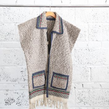 Vintage Collared Poncho Vest with Fringe Trim