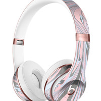 Marbleized Swirling Pink and Gray v4 Full-Body Skin Kit for the Beats by Dre Solo 3 Wireless Headphones