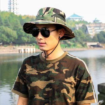 2018 men Army Tactical Sniper Camouflage Military Hats fisherman men Fish Hunting Hats Accessories bucket cotton fishing hat