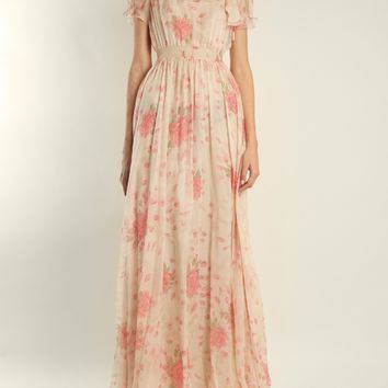 Neck-tie rose-print silk-chiffon gown | Valentino | MATCHESFASHION.COM US