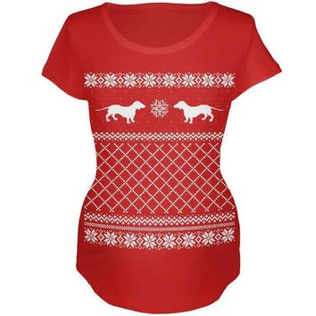 CREYCY8 Dachshund Ugly Christmas Sweater Red Maternity Soft T-Shirt