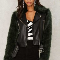 Nasty Gal Collection Playing With Fur Moto Jacket
