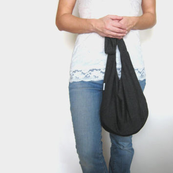 Boho Bag. Slouch Bag. Cross Body Hobo Purse. Over Shoulder Bag. Charcoal Gray Jersey Knit Bag. Gift for her or him Under 30.
