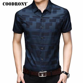 COODRONY Short Sleeve Shirt Men Clothes 2018 Summer Mens Shirts Casual Slim Fit Plaid Camisa Masculina Cotton Chemise Homme 8701