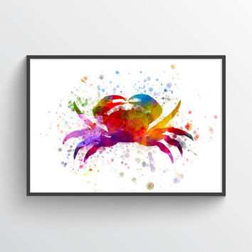 Crab Poster, Crab Decor, Crab Print, Nautical Art Print Home Decor, Gift Idea
