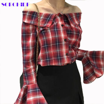 Off Shoulder Blouses Blusas  Red Plaid Shirt Ruffles Shirts Women Top Female Blouses  Blusa