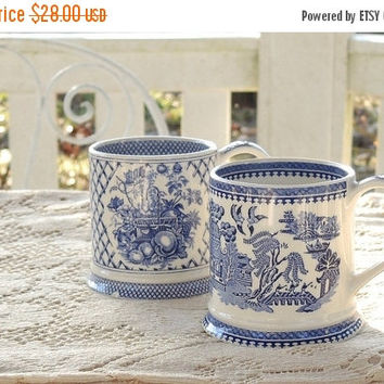 On Sale James Sadler Coffee Cups Set of 2, Afternoon Tea Blue and White Coffee Mugs, Tea Cups Cottage Decor Vintage Bridesmaid Gift Tea Part