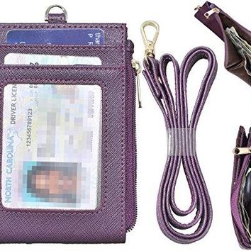 Beurlike Bifold ID Badge Holder Wallet Neck Lanyard Genuine Leather ID Card Case