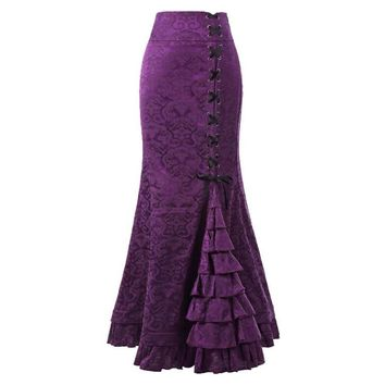 YJSFG HOUSE Vintage Women Skirts Trumpet Mermaid Gothic Long Steampunk Skirt Maxi Fishtail Victorian Fashion Bandage Skirt