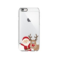 Santa Claus And Reindeer Merry Christmas Transparent Silicone Plastic Phone Case for iphone 7PLUS _ LOKIshop (iphone 7 plus)