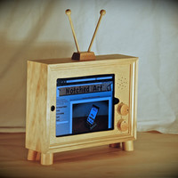 "The retro style ""iPad TV"" custom handmade wooden docking stand for iPad 1, 2, 3 and 4"