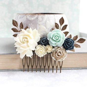 Bridal Hair Comb Big Rose Comb Navy and Mint Wedding Ivory Cream Vintage Inspired Gold Branch Bridesmaids Gift Romantic Flowers For Hair