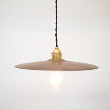 Modern Wood Pendant- Hand Turned Solid Walnut Shade w/ Solid Brass Socket