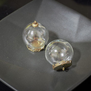 Miniature Round Glass Bottle with Hooped or Flat Cover