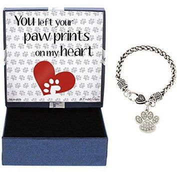 You Left Pawprints on My Heart SilverTone Crystal Adorned Paw Print Charm Bracelet Jewelry Box