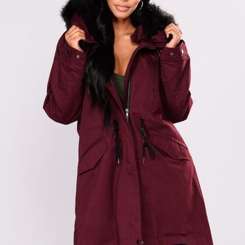 Roxanna Hooded Utility Jacket - Wine