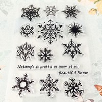 2018 Christmas Snowflake Transparent Clear Silicone Stamp/Seal for DIY scrapbooking/photo album Decorative clear stamp sheets