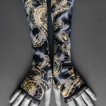 Fingerless Gloves Paisley Floral Victorian Arm Warmers Dark Slate Grey & Beige featuring Black Laced Trim