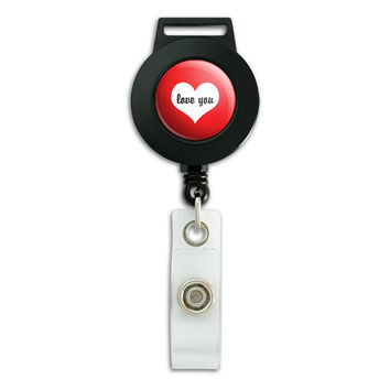 Love You Heart Wedding Bridal Valentines Retractable Badge Card ID Holder
