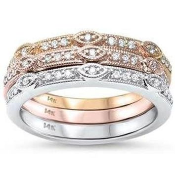 Three Piece Stackable G SI Diamond 14kt Tri Color Band Ring