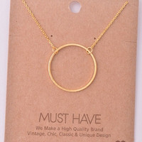 Dainty Large Open Circle Pendant Necklace - Gold, Silver or Rose Gold
