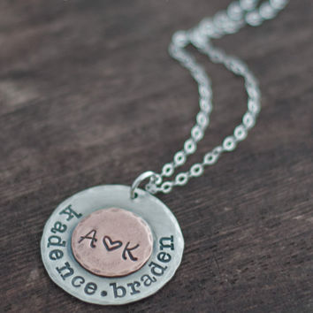 Personalized Family Name Necklace with Initials and Childrens Names - Mothers Custom Hand Stamped Pendant
