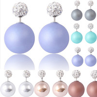 New Designer  Elegant Double Pearl Earrings Beads Rhinestone Charm Earrings For Women 2014 Fashion Statement Jewelry